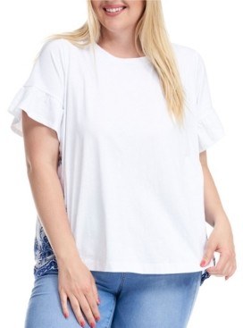 Fever Trendy Plus Size Woven Back Embroidered T-Shirt