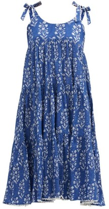 Juliet Dunn Tie-shoulder Tiered Floral-print Cotton Dress - Blue White