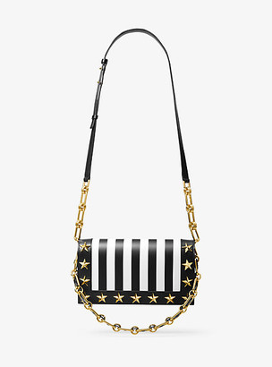 Michael Kors Courtney Studded Striped Leather Shoulder Bag