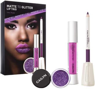 Cailyn Cosmetics Purple Matte To Glitter Lip Trio: Matte Tint Gloss, Lipliner, Glitter