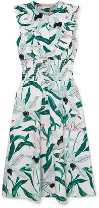 Tory Burch Ruffled Floral-print Cotton-poplin Midi Dress
