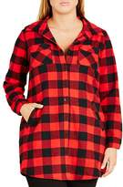 City Chic Plaid Boyfriend Shirt