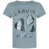 Lanvin LanvinGirls Blue Sequin Hearts Top