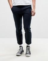 Farah Slim Cropped Hopsack Trouser In Navy