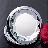 KOLIGHT® Mini Cosmetic Metal Portable Fold Pocket Women Girls Makeup Mirror Double Sides (One Is Normal,another Is Magnifying) (white)