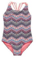 F&F Aztec Print Plaited Strap Swimsuit, Girl's
