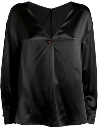Vince Silk Button-Detail Blouse