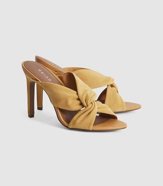 Reiss Ella - Leather Twist Front Heeled Mules in Light Tan