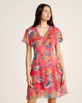 Gaudi' Gaudi Floral Print Flutter Sleeve Fit & Flare Dress
