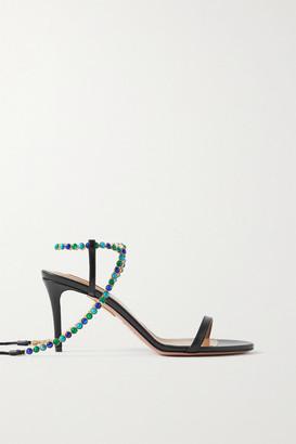 Aquazzura Livia 75 Beaded Leather Sandals - Black