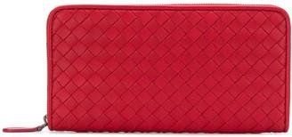 Bottega Veneta China red Intrecciato nappa zip around wallet