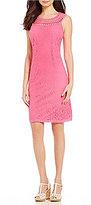 Jessica Howard Crochet-Neck Lace Shift Dress