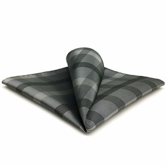 """S&W Shlax&Wing shlax&wing Men's Pocket Square Checkered Grey 12.6"""" 32cm"""