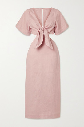 Cult Gaia Maya Tie-front Cutout Linen Midi Dress - Blush