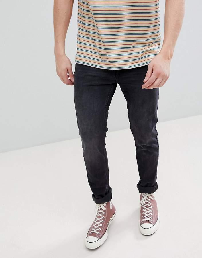 Pull&Bear Slim Fit Jeans In Dark Gray