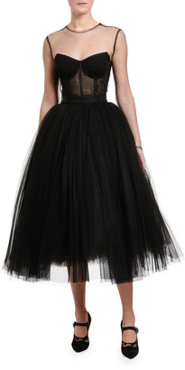 Dolce & Gabbana Netted Illusion Bustier Tulle Dress