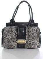 B. Makowsky Black Leather Animal Print Detail 4 Pocket Satchel Handbag