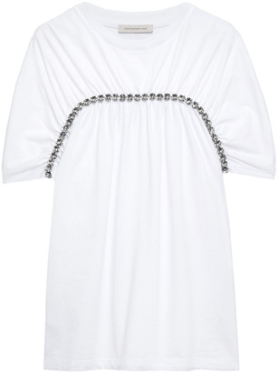 Christopher Kane Crystal-embellished Gathered Cotton-jersey T-shirt