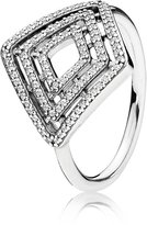 Pandora Ring 196210CZ-52 Silver Zirconia Geometric Lines