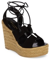 Saint Laurent Women's Woven Espadrille Wedge Sandal