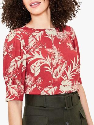Oasis Tropical Print T-Shirt, Orange/Cream