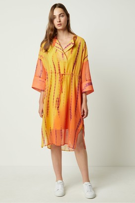 French Connection Tie Dye Belted Shirt Dress