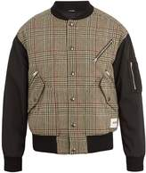 Stella McCartney Contrasting checked wool-blend bomber jacket