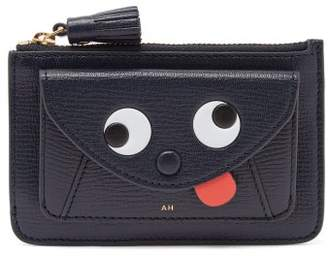 Anya Hindmarch Zany Eyes Grained-leather Cardholder - Womens - Navy Multi
