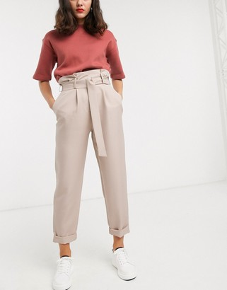 ASOS DESIGN d ring tapered pants in camel