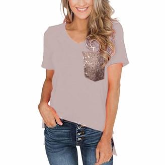 Momoxi 2019 Summer Newest Women's Fashion Simple Leopard Print Pocket V-Neck T-Shirt Loose Top Blouse Pockets Design Soft Comfortable Hight Quality Plus Size Cheap Discount