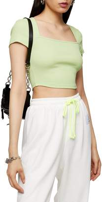Topshop Square Neck Rib Crop Top