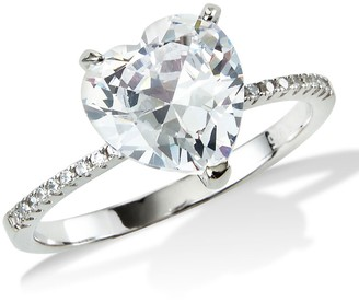 Savvy Cie Sterling Silver CZ Heart Cut Ring