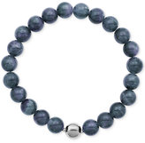 Macy's Silver-Tone Faceted Bead Blue Stone Stretch Bracelet