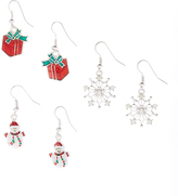 Carole Red & White Holiday Drop Earrings Set
