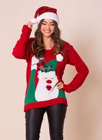 Missy Empire Red Santa Mistletoe Christmas Jumper