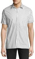 Burberry Dot-Trim Striped Short-Sleeve Sport Shirt