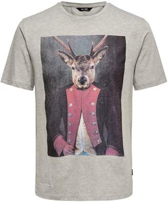 ONLY & SONS Animal Face Graphic Cotton Tee