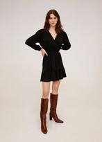 MANGO Fluted hem dress medium brown - 2 - Women