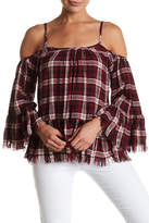 En Creme Plaid Cold Shoulder Blouse