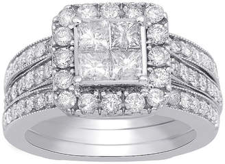 MODERN BRIDE Womens 2 CT. T.W. Genuine White Diamond 10K White Gold Engagement Ring