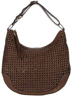 Frye Melissa Woven Scooped Hobo (Dark Taupe) Handbags