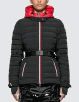 Moncler Belted Down Jacket With Stripe Detail