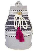 Striped Drawstring Cotton Backpack Handcrafted in Mexico, 'Day Trip Light'