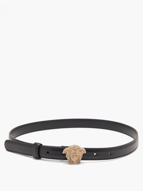 Thumbnail for your product : Versace Crystal-embellished Leather Belt - Black
