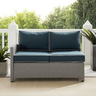 "Crosley Bradenton 52.75"" Wide Outdoor Wicker Loveseat with Cushions Frame Color/Cushion Color: Gray Frame/Navy Cushion"