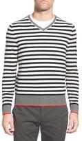 AG Jeans Men's Green Label 'Renton' Stripe Wool & Cashmere V-Neck Sweater