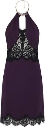 Roberto Cavalli Embellished Lace-paneled Ruched Cady Halterneck Dress
