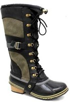 "Sorel Conquest Carly"" Black Leather Lace Boot"