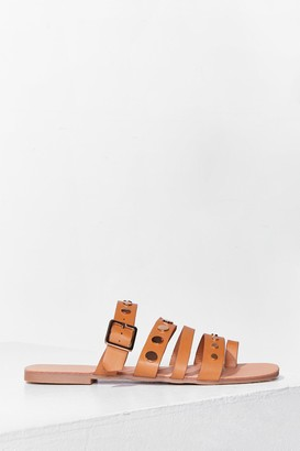 Nasty Gal Womens Stud Vibes Faux Leather Flat Sandals - Tan