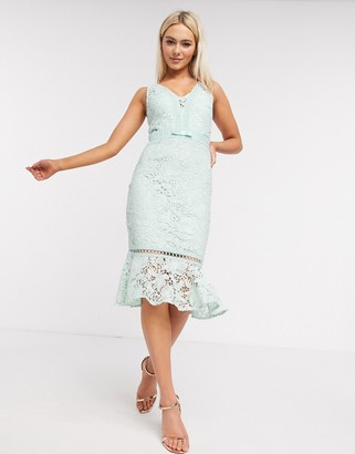 Lipsy lace midi dress with pephem in mint